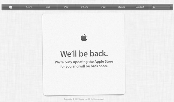 Apple Store unavailable until iPhone 5 is announced