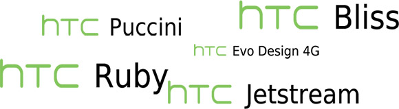 HTC unannounced phones. Puccini, Bliss, Ruby, Evo Design 4G Jetstream