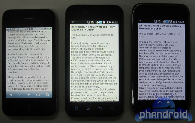 LG B compared to iPhone 4 and Galaxy S