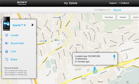 Map of missing Xperia smartphone