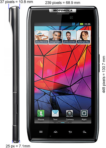 Motorola RAZR missleading advertized measurements