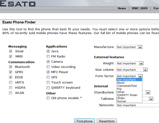 Esato phone finder search field