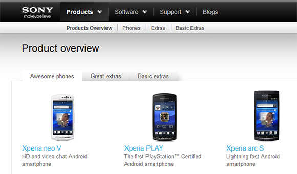 Sony Mobile with a new home online