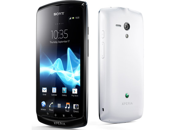 Sony Xperia Neo L front and back. Black and white