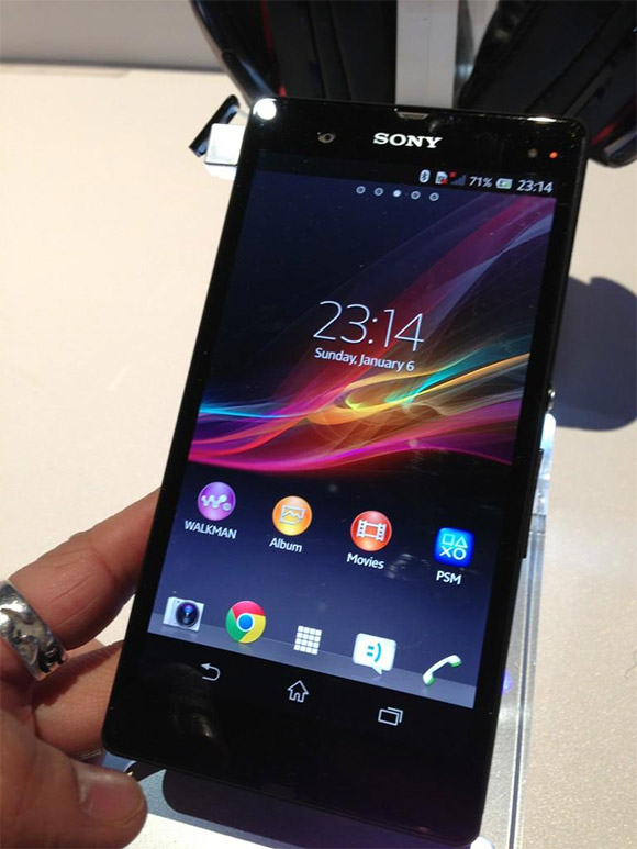 Sony Xperia Z at the CES booth