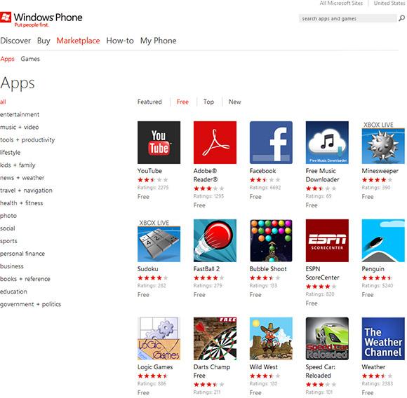 Windows Marketplace Apps List