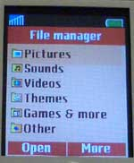 Sony Ericsson K700 File Manager