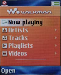 W550 Walkman menu
