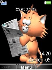 Cat reading newspaper W715  theme